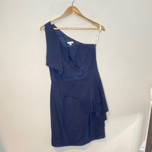 Shoshanna Navy Blue One Shoulder Mini Dress